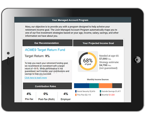 Tablet displaying a screenshot of the iJoin Managed Account Program tools