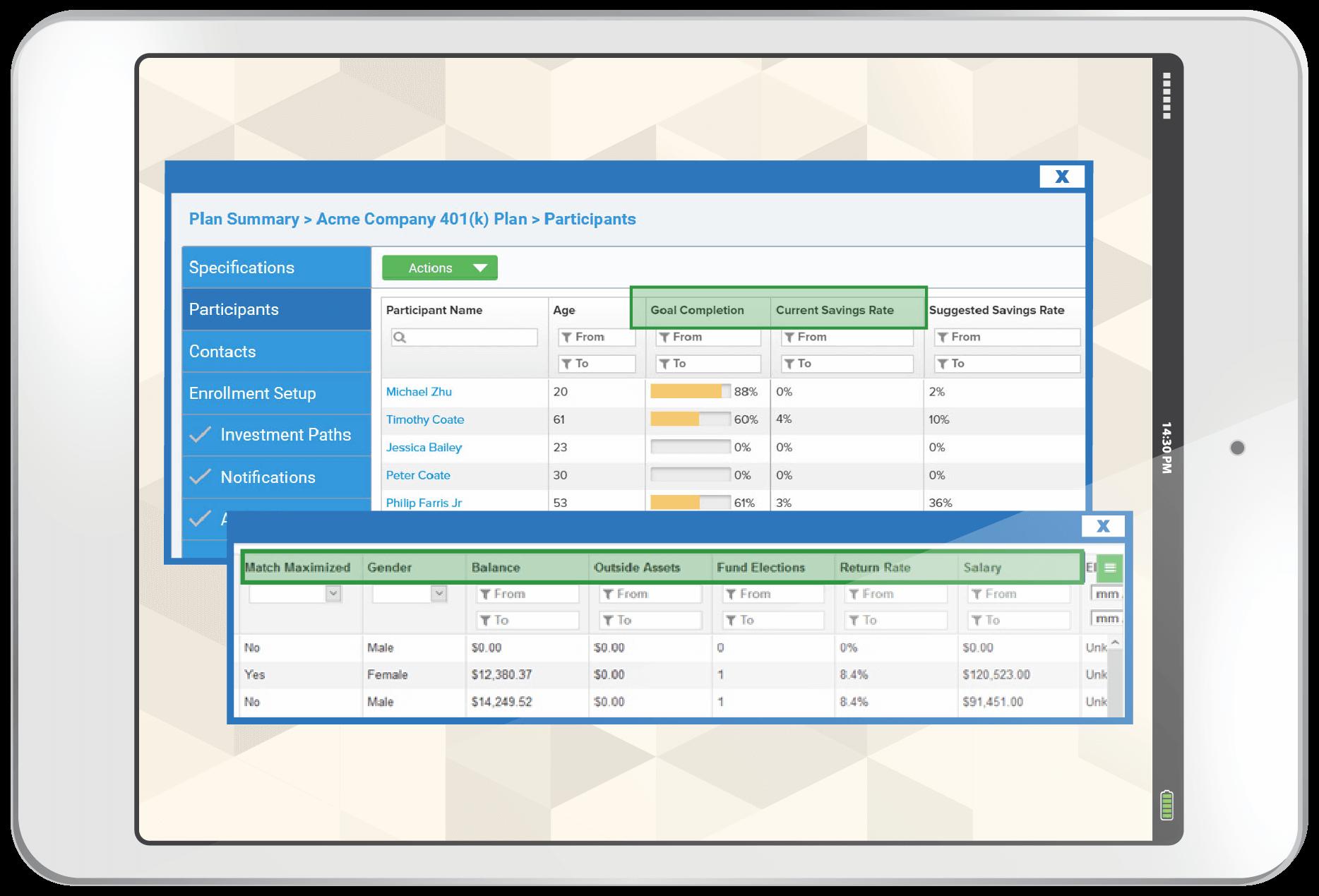 Tablet displaying screenshots of iJoin's Plan Summary tool
